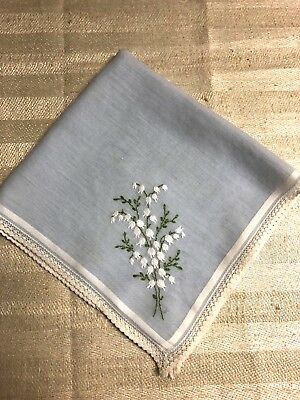 Light blue vintage Forget-me-not handkerchief, wedding something blue