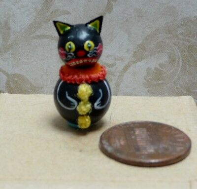 Cute 1:12 Scale Miniature Karen Markland Black Cat With Yellow Eyes