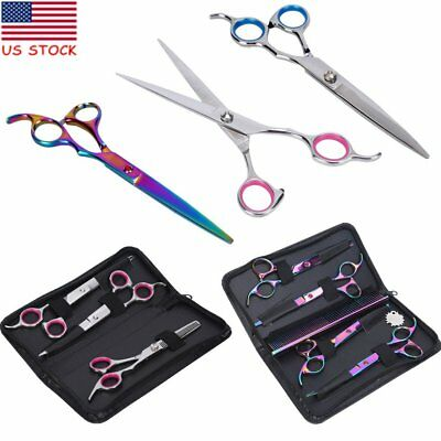 Professional Pet Dog Grooming Scissors Set Straight Thinning Curved