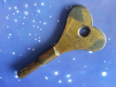 SIZE 9 ANTIQUE 4.5mm CLOCK WINDING KEY J CARR & SON DEPTFORD 1903 SOLID BRASS