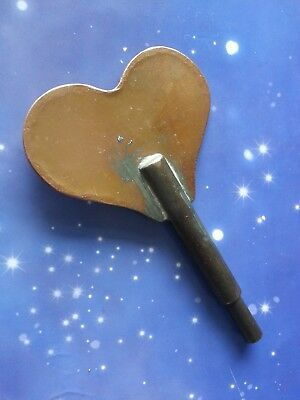 SIZE 5 VINTAGE 3.5mm CLOCK WINDING WINDER KEY SOLID BRASS LOVE HEART SHAPED