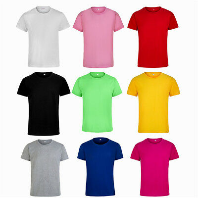 Plain Round Neck Solid Color Unisex T-Shirts  Casual Mens Tops Summer Slim Tee