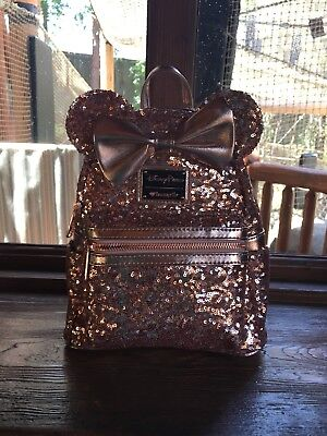 Rose Gold Minnie Mouse Loungefly Backpack Disney Parks Ears Disneyland SOLD  OUT 08697a6c93