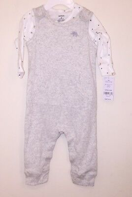 NWT Carter's 2-Pc Cotton Star Print Shirt & Elephant Coverall Set Baby 6 Month