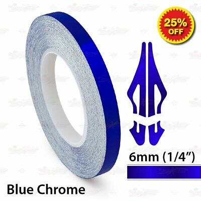 """6mm 1/4"""" PinStriping Pin Stripe Tape SOLID Line Decal Vinyl Sticker BLUE CHROME"""