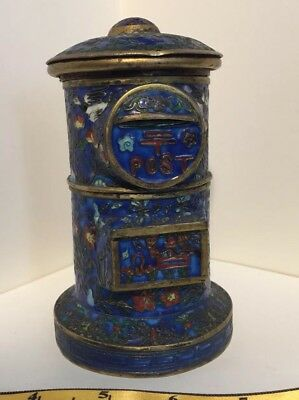 Vintage Gilt Silver? Chinese Cloisonne Box or Tea Caddy Looks like a Mailbox
