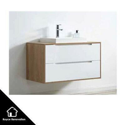 750/900mm Timber look Wood Grain Frame White Two Drawers Wall hung Vanity Oak