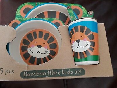 Children's 5 Piece Bamboo Dinner Set - 100% Bamboo Fibre, Eco-Friendly