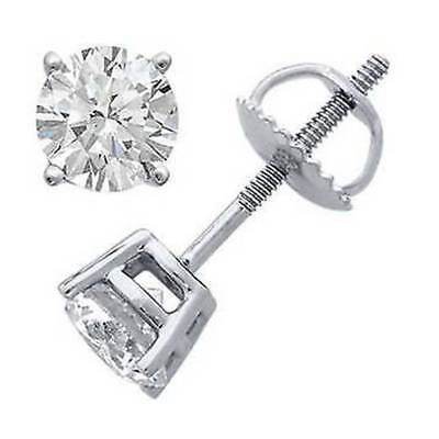 2 Ct Round D/VVS1 Diamond 14k White Gold Fn Screw Back Solitaire Stud Earrings