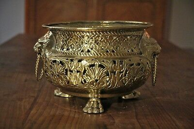 French Antique Brass Pierced Work Jardiniere with Lion Mask Heads on Paw Feet