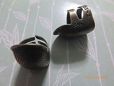 Brassl Open Sided Adjustable Thimble Pitted Tailors Sewing Quilting Old Bronze