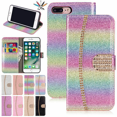 Sparkly Glitter Diamond Leather Wallet Flip Case Cover For iPhone Samsung UK