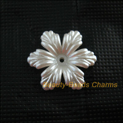 16Pcs White Plastic Acrylic Flower Leaf Spacer End Bead Caps Charms 24mm