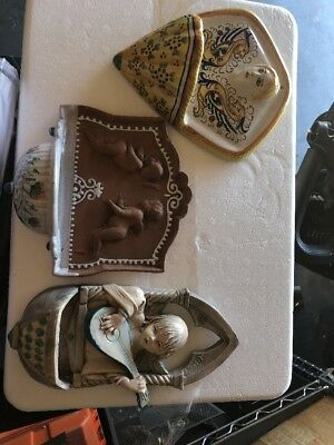 Lot Of 3 Vintage Italian Wall Pocket Water Fonts old from Italy