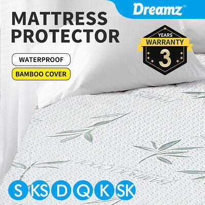 New Bamboo Fully Fitted Mattress Protector Fitted Sheet Waterproof Cover AllSize