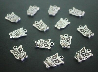 16 pce Metal Antique Silver Owl Charms 16mm x 10mm Jewellery Making Craft