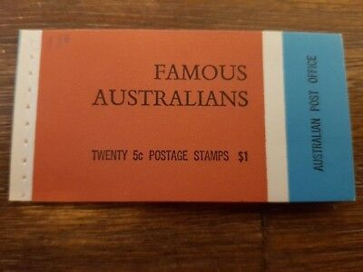 FAMOUS AUSTRALIANS - Stamp Booklet - 20x 5c Postage Stamps