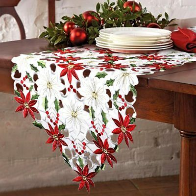 Christmas Embroidered Table Runners Cover Poinsettia Holly Leaf Table Linens