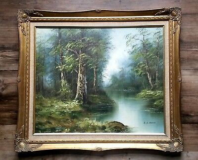 Original Large Vintage Gilt Framed River Woodland Landscape Oil Painting-Signed