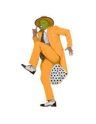 The Mask Jim Carrey Fancy Dress Costume Deluxe 90s Gangster Zoot Suit W/Mask