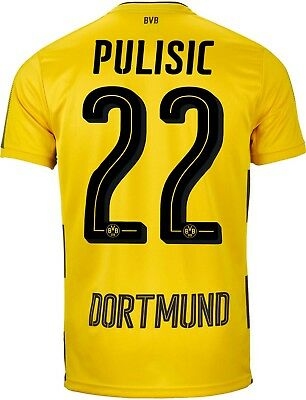 Adult L BVB Home Shirt 17-18 Pulisic 22 &  Bundesliga & Opel Badges M69
