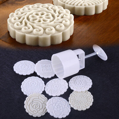 75g Mooncake Tool + 8 Round Flower Stamps Biscuit  Mold Mould Baking Craft DIY