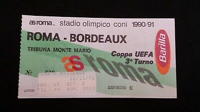 Biglietto Ticket As Roma Bordeaux Coppa Uefa 1990/91 Europa League collezione