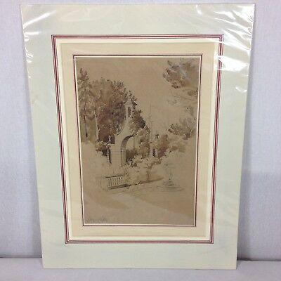 Antique 19th Century Pencil And Wash Sketch Entrance Arch Guy's Cliffs House