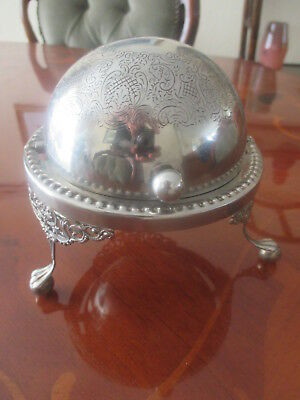 Vintage Silver Plate Dome Roll Top Butter Dish Made In England