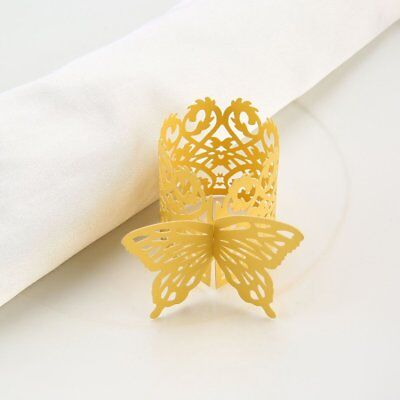 50pcs Butterfly Style Laser Cut Paper Napkin Ring for Wedding Table Decor Gold##