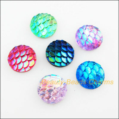 40Pcs Mixed Resin Round Fish Scale FlatBack Jewelry Accessory 10mm