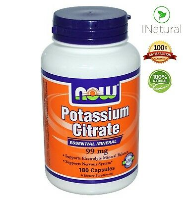 Now Foods Potassium Citrate Mineral tablets Electrolytes 99mg - 180 Capsules