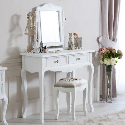 WHITE DRESSING TABLE mirror stool shabby ornate chic French ...