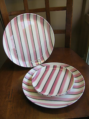 WS George RANCHERO Pink Grey Mid Century STRIPED plates LOT 2 dinner 2 bread