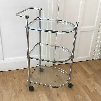 Vintage art deco style chrome cocktail trolley. 70s drinks cart