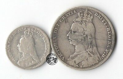 """Great Britain: 3 Pence & 1/2 Crown 1890-1889. """"Quen Victoria"""".  VF/F+ 2 coins."""