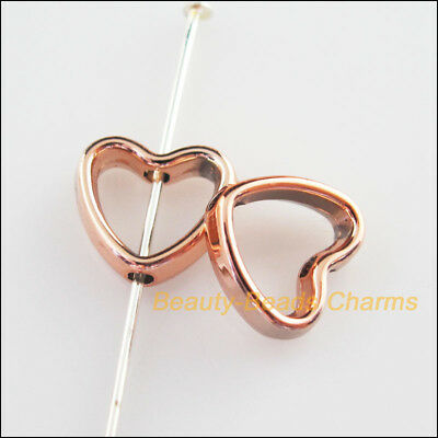 15Pcs Champagne Gold Acrylic Heart Spacer Beads Frame Charms 11x12mm