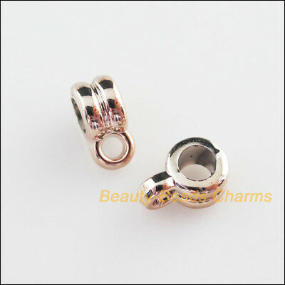 25Pcs Champagne Gold Acrylic Round Charms Bail Beads Fit Bracelets 6.5x9.5mm