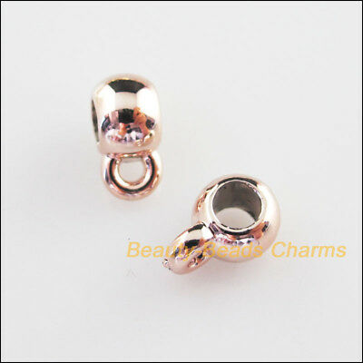 25Pcs Champagne Gold Acrylic Round Charms Bail Beads Fit Bracelets 6x9mm