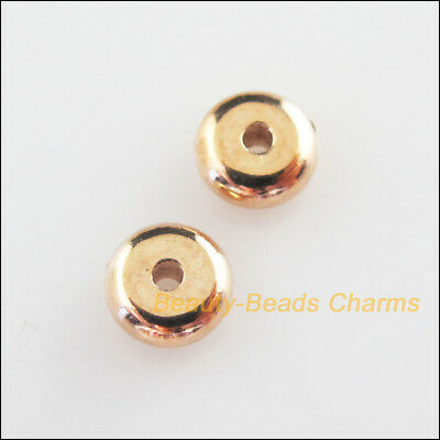 70Pcs Champagne Gold Acrylic Round Flat Spacer Beads Charms 6mm