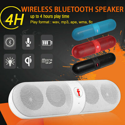 Portable Wireless Bluetooth Speaker Rechargeable Bass Stereo SD FM AUX for Phone