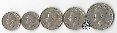 "Great Britain: 6 Pence, 1 & 2 Crowns 1948-1950 ""Georg VI"".Set of 5 coins XF+/VF+"