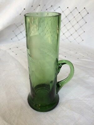 Small green slender cup / vase with handle etched with grass stems 10cm