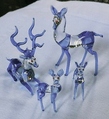 Vintage Deer Family 4 Pieces Hand-Blown Clear & Blue Beautifully Made Delicate