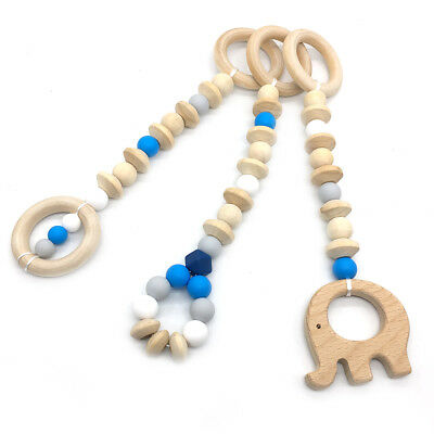 Wooden Elephant Silicone Teething Baby Play Gym Toy Teether Toddler Sensory Toys