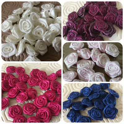 Single Small Round Satin Ribbon Roses Buds Embellishments