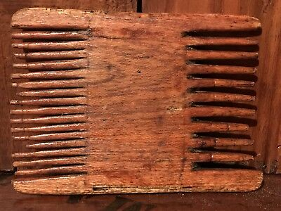Antique Very Primitive Hand Carved Wood Weaver Textile Card Comb AAFA