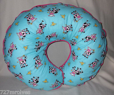 Handcrafted Boppy Pillowcase - Blue w/Pink and Black Cows