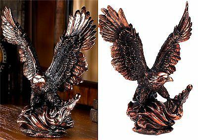 "Striking Art ** 11.5"" EAGLE IN FLIGHT STATUE SCULPTURE *Bronze-Finish Resin* NIB"