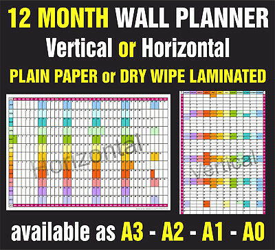 12 Month Colour Coded YEAR PLANNER Office Organiser, Holiday Planner, Options